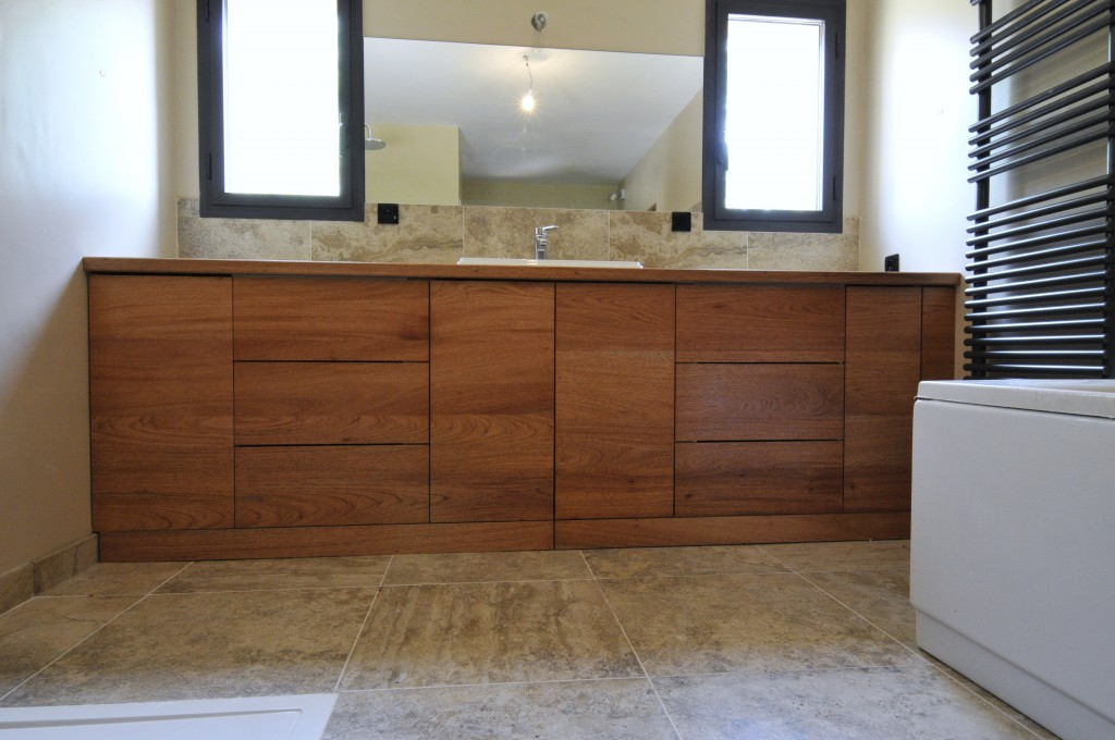 Meuble Cuisine Exotique : salle de bain sur mesure en bois exotique